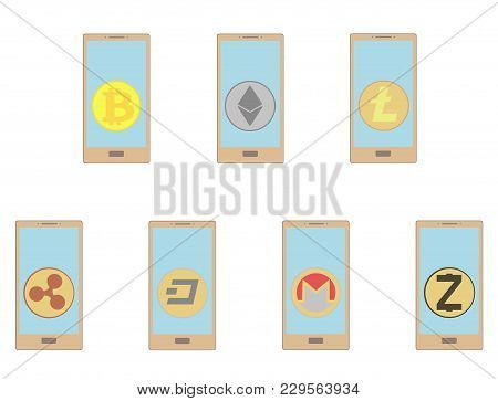 Crypt Coins In The Phone On A White Background,crypt Coins In The Phone Color, Vector Icon, Disign C