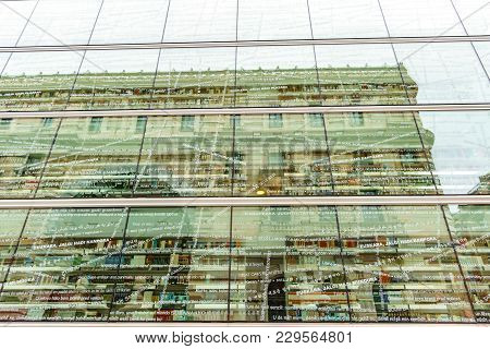Spain, Bilbao - April 24: Glassy Facade Of The Regional Library Of Bizkaia With Reflections In Bilba