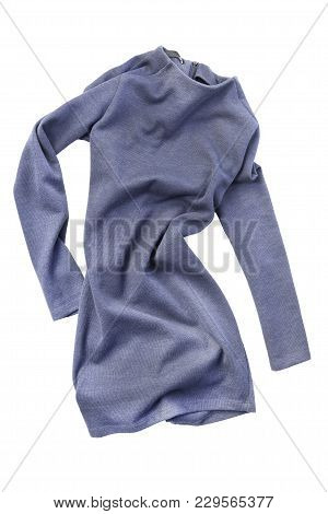 Crumpled Blue Knitted Basic Mini Dress Isolated Over White
