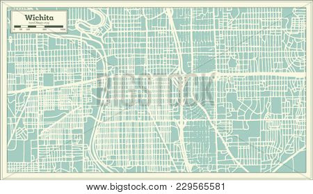 Wichita Kansas USA City Map in Retro Style. Outline Map.
