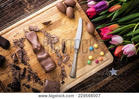 Chocolate Rabbit And Raw Pieces Of Chocolate