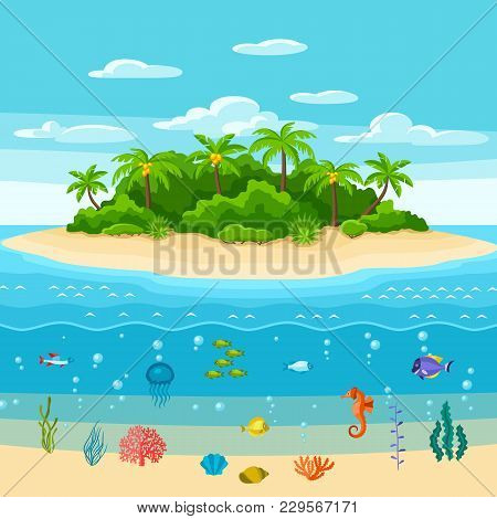 Illustration Of Tropical Island In Ocean. Landscape With Ocean, Palm Trees And Underwater Life. Trav