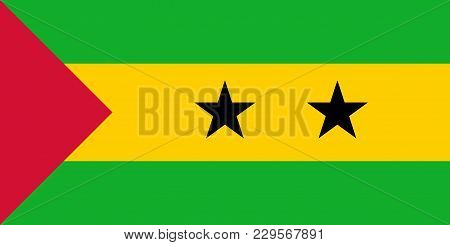 Flag In Colors Of Sao Tome And Principe, Vector Image