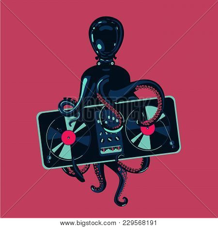 Hip-hop Party Poster Template. Octopus Tentacles With Vinyl Record Turntable. Electronic Music Festi