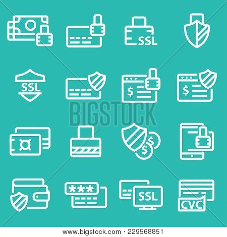 Collection Of Secure Payment Thin Line White Icons