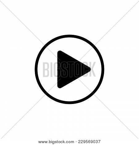Play Button Web Icon. Vector Illustration Black On White Background