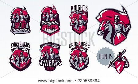 A Set Of Emblems, Logos, Stickers, A Knight With A Flag On A Horse. Crusader, Swordsman, Warrior, Ar