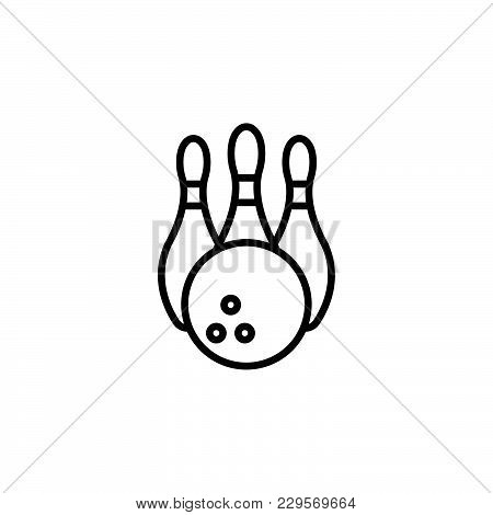 Bowling Pins And Bowling Ball Icon Black On White Background