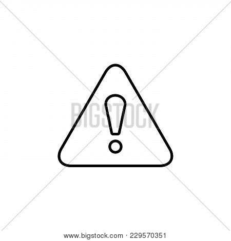Exclamation Danger Line Sign Black On White Background
