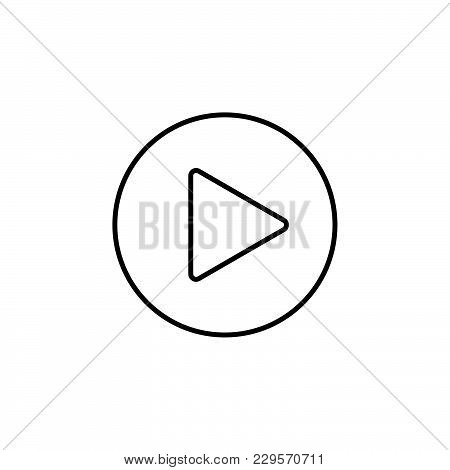 Play Line Icon. Vector Illustration Black On White Background