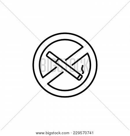 No Smoking Sign Line Icon. Black On White Background