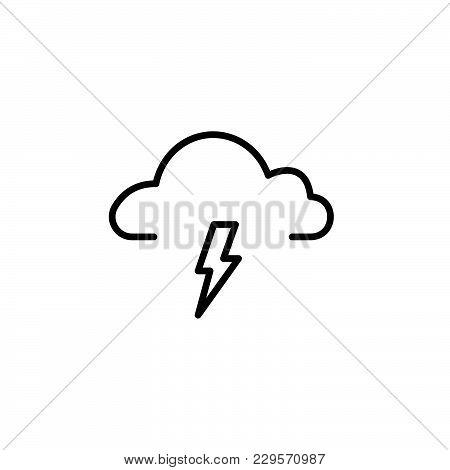 Weather (thunderstorm) Icon. Vector Illustration Black On White Background