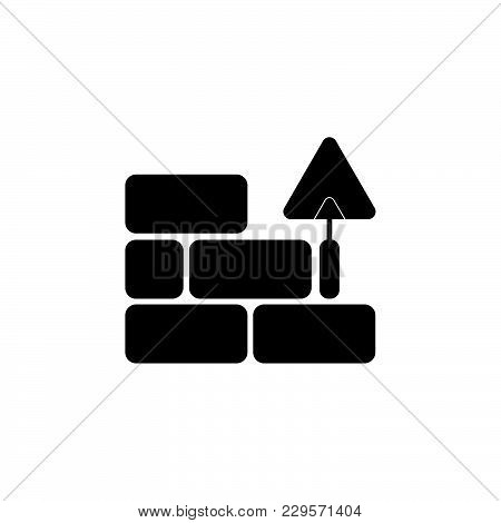 Vector Icons Brickwork And Building Trowel Black On White Background