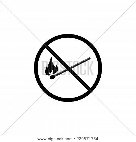 No Fire Sign Icon. Vector Illustration Black On White Background