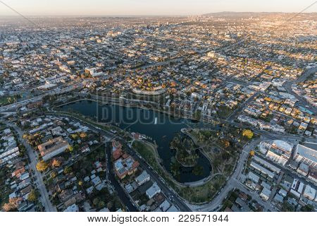 Morning aerial view of Echo Park neighborhood and lake near downtown Los Angeles California.