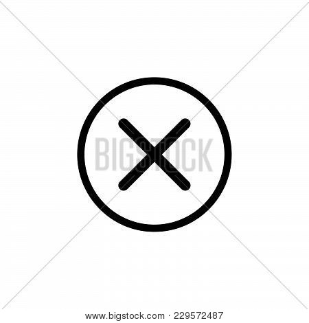 Delete Sign, Icon. Remove Button. Vector Black On White Background