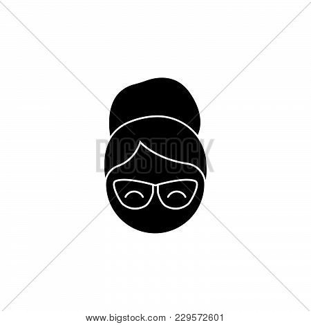 The Woman In Glasses. Grandmother Icon. Black On White Background
