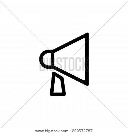 Loudspeaker Line Icon. Vector Illustration Black On White Background