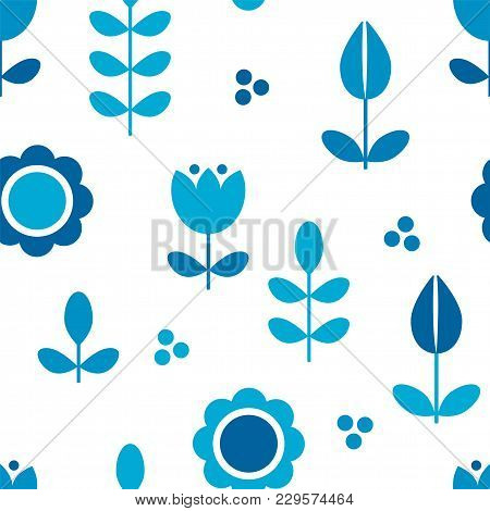 Floral Pattern For Surface Design In Scandinavian Style , Hygge Flowers