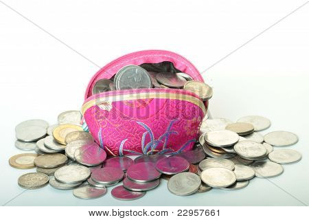 indian rupees coin with a coin purse