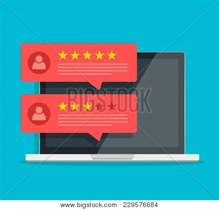 Computer With Customer Review Rating Messages Vector Illustration, Flat Cartoon Design Of Laptop Pc