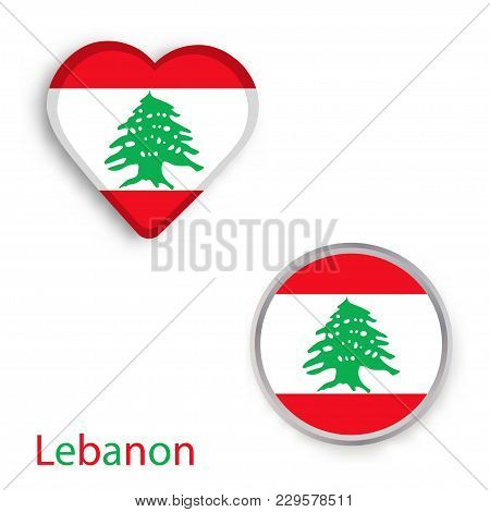 Heart And Circle Symbols With Flag Of Lebanon. Vector Illustration
