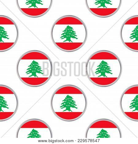 Seamless Pattern From The Circles With Flag Of Lebanon. Vector Illustration