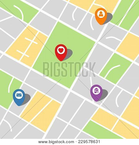 City Map Of An Imaginary City With Four Pins. Vector Illustration.