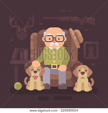 Old Man Resting In Armchair With His Two Dogs. Senior Hunter Sitting With Puppies. Grandfather Flat