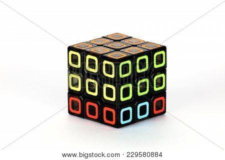 The Rubik`s Cube On The White Background. The Solution Sequence Stage Three. The Object Is Isolated