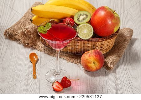 Cherry Jelly In The Glass Topped Mint Leaves, Fresh Strawberries, Nectarine, Lime, Kiwi, Banana, App