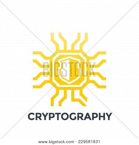 Cryptography Icon On White, Eps 10 File, Easy To Edit