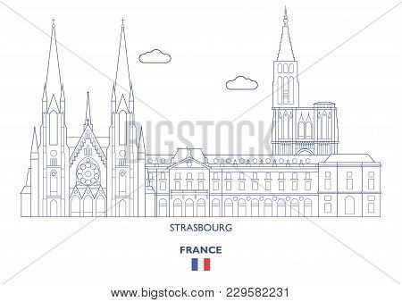 Strasbourg Linear City Skyline, France. Famous Places