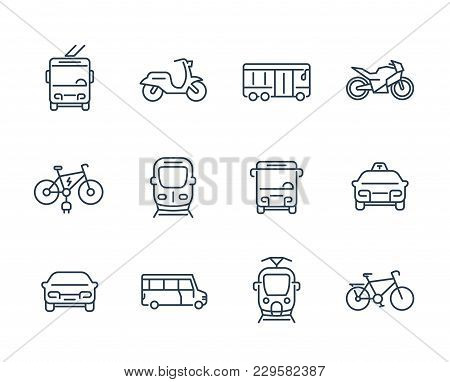 City Transport Icons, Transit Van, Cab, Bus, Taxi, Train, Bikes, Linear Style, Eps 10 File, Easy To