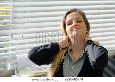 Tired Neck. Close-up Office Worker Woman Suffering From Neck Pain. Female Feeling Tired, Exhausted,