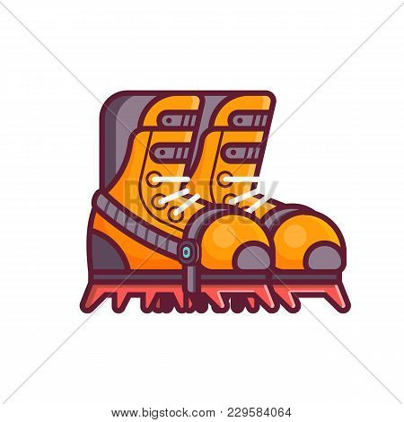 High Mountain Climbing Boots Icon In Line Style. Mountaineering And Ice Snow Hiking Climbing Footwea