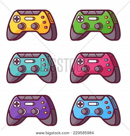 Video Game Controller Icon. Joystick Wireless Gadget Set. Colorful Gamepad In Flat Design. Computer