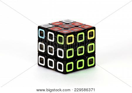 The Rubik`s Cube On The White Background. The Solution Sequence Stage Seven. The Object Is Isolated