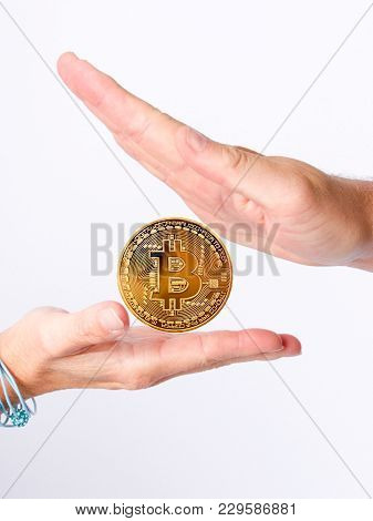 Businessman Gives The Bitcoin Woman, Deal Concept Businesswoman Or Man