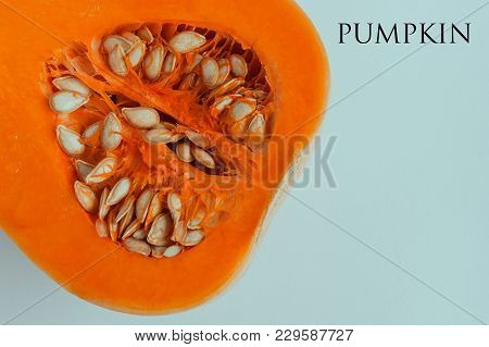 Pumpkin Halved On White Background With Copy Space. Butternut Squash. Concept - Organic Food, Vegeta