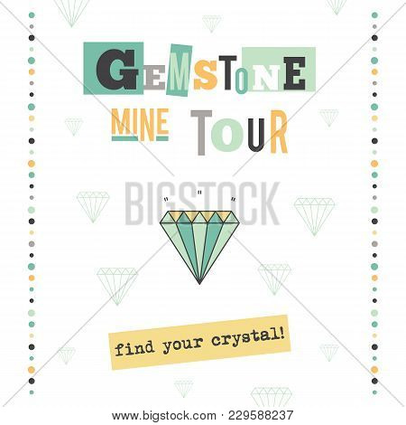 Gemstone Diamond Vector Vertical Banner Template. The Tour Announcement. For Travel Agency Products,