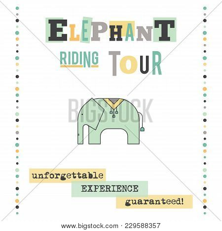 Vector Vertical Banner Template. Elephant Riding Tour Announcement. For Travel Agency Products, Tour