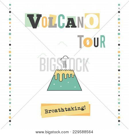 Vector Vertical Banner Template. Volcano Tour Announcement. For Travel Agency Products, Tour Brochur