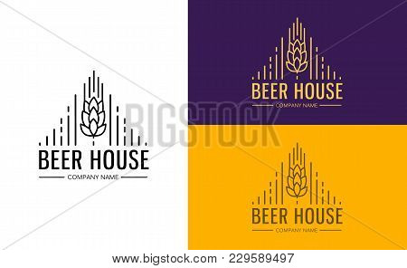 Line Graphics Monogram Template With Logos, Emblems For Beer House, Bar, Pub, Brewing Company, Brewe