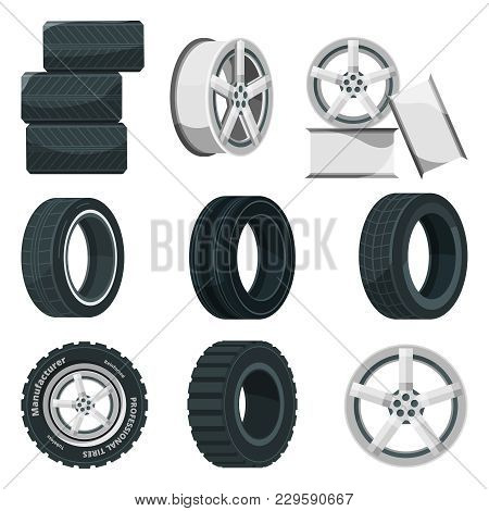 Icon Set Of Different Disks For Wheels And Tires. Vector Pictures Set In Cartoon Style. Illustration