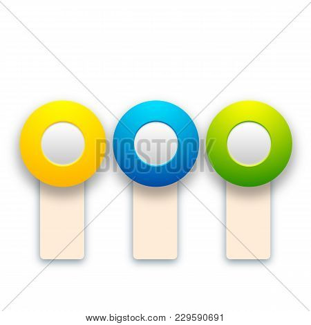 Abstract Colorful Toggles Set With Vertical Banners And Round Buttons For Web Design Isolated Vector