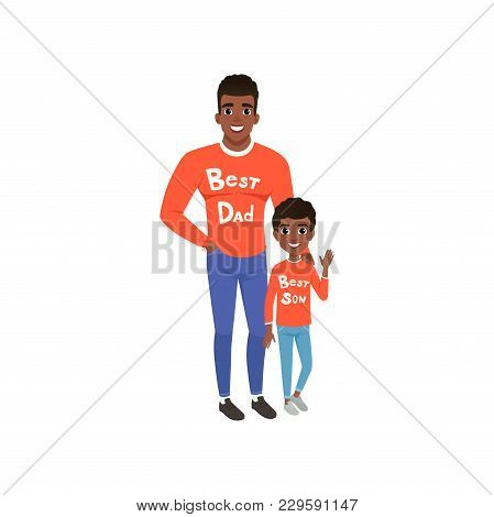 Father And Son Dressed In Red Shirts With The Inscription Best Dad And Best Son, Loving Dad And Kid