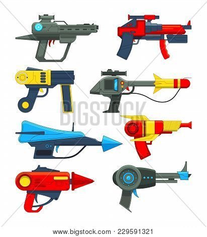 Fantastic Space Weapons In Cartoon Style. Weapon Gun And Pistol, Toy Blaster And Laser. Vector Illus