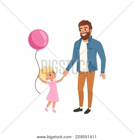 Smiling Father And His Little Daughter With Pink Balloon, Loving Daddy And Kid Spending Time Togethe