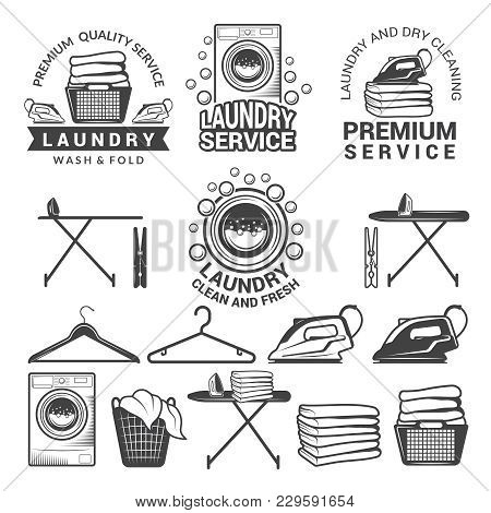 Monochrome Labels Of Laundry Service. Illustrations Of Washing Machines. Service Machine Wash, Hange
